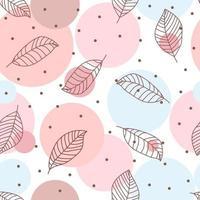 padrão sem emenda com folhas desenhadas à mão