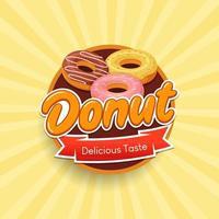 ilustração vetorial de crachá de rótulo de bolo de donuts vetor