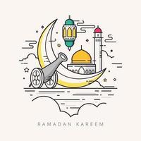 ilustração em vetor ramadan kareem doodle desenhado à mão