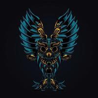ilustração de arte de ornamento de coruja vetor