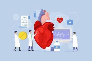conceito de design de processo moderno de tratamento cardíaco com pessoas minúsculas vetor