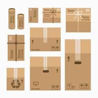 caixa de embalagem de entrega de cartão com sinais frágeis. conjunto de maquete de caixa de papelão. vetor