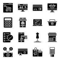 pacote de compra de ícones sólidos vetor