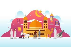 eid adha mubarak com conceito de design de personagens de pessoas pequenas vetor