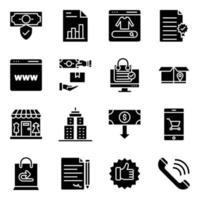 pacote de ícones sólidos de gastos