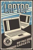 poster vintage retro, computador portátil de gadgets, reparo, serviço, restauração vetor