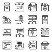 pacote de compras e compra de ícones lineares vetor