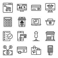 pacote de compra de ícones lineares vetor