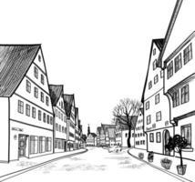 café de rua na cidade velha. skyline da cidade - casas, edifícios e árvores no beco. vetor