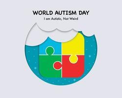 cartão do dia mundial do autismo vetor