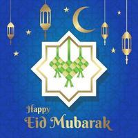 ilustração de comemoração do feliz eid mubarak, cartão comemorativo