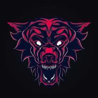 ilustração de arte de lobo zangado vetor