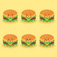 hambúrguer fofo com várias expressões vetor
