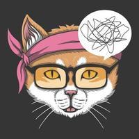 o gato não entende ilustração vetorial vetor