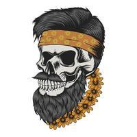 caveira com barba e bigode em flores, ilustração vetorial vetor