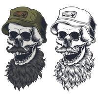 caveira com barba, bigode e ilustração vetorial de chapéu vetor