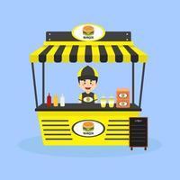 vendedor vende hambúrgueres na rua vetor