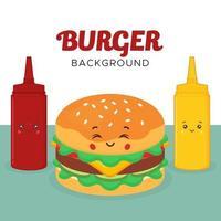 grande pano de fundo com conjunto de caracteres de molhos de hambúrguer vetor