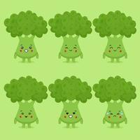 Brócolis fofo com várias expressões vetor