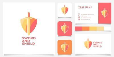 escudo colorido e logotipo de espada com modelo de cartão de visita vetor