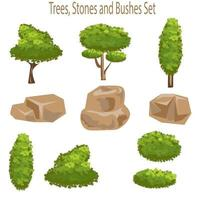 árvores e elementos de design de rochas vetor
