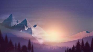 pôr do sol laranja, área montanhosa, floresta de abetos, céu estrelado colorido e horizonte rochoso, ilustração vetorial realista vetor