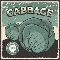 poster retro vintage cabagge vegetal vetor