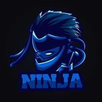 ilustração de arte de ninja azul vetor