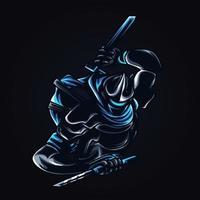 ilustração de arte de lutador ninja vetor