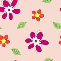 padrão sem emenda com flores e folhas desenhadas à mão