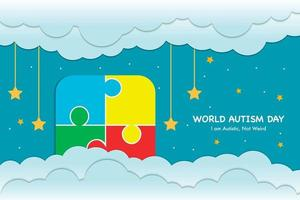 estilo de papel recortado do dia mundial do autismo vetor