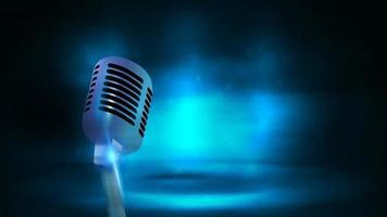 único microfone de transmissão da velha escola de prata no fundo com cena vazia escura e azul. pôster com microfone e espaço de cópia vetor
