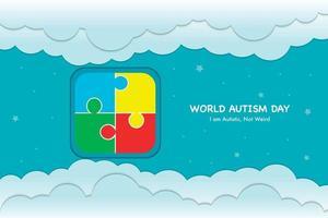 fundo cortado em papel do dia mundial do autismo vetor