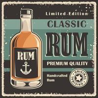 pôster vintage retrô clássico com sinalização de rum vetor