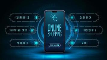 compras online, banner web digital escuro e azul com smartphone e interface de holograma ao redor. banner da web para seu produto em estilo digital moderno vetor