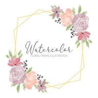aquarela pastel peônia rosa floral moldura rústica vetor