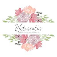 ilustração de quadro de flor rosa aquarela vetor