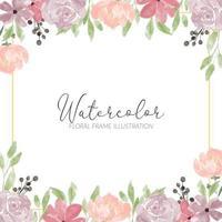 aquarela linda flor rosa moldura quadrada vetor