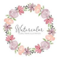 moldura de grinalda de flor rosa fofa aquarela vetor