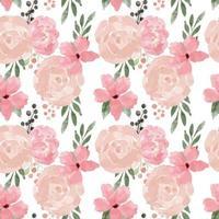 flor rosa sem costura padrão estilo aquarela vetor