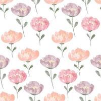 aquarela peônia padrão floral sem costura cor pastel vetor