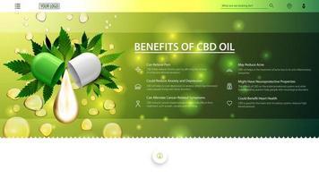 verde um banner branco da web para o site com gota de óleo cbd e folhas verdes de cannabis no fundo de gotas de óleo. usos médicos do óleo cbd, benefícios do uso do óleo cbd. vetor