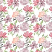 aquarela pastel peônia rosa padrão floral sem costura vetor