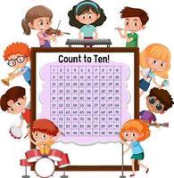 contando a placa número 1-100 com muitas crianças fazendo atividades diferentes vetor