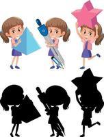 conjunto de uma menina segurando diferentes ferramentas matemáticas com uma silhueta vetor