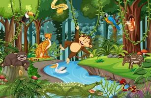 personagem de desenho animado de animal selvagem na cena da floresta vetor