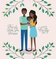 cartão de dia da família com pais e filho negros vetor