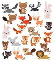 conjunto de animais fofos vetor