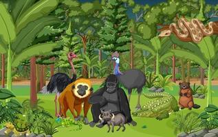 cena da floresta tropical com animais selvagens vetor