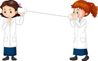 experimento de telefone com string de personagem de desenho animado de duas meninas cientistas vetor